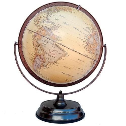 MAGNIFICENT 30cm QUALITY World Globe Embossed Raised Relief Gimbal Arm Decor