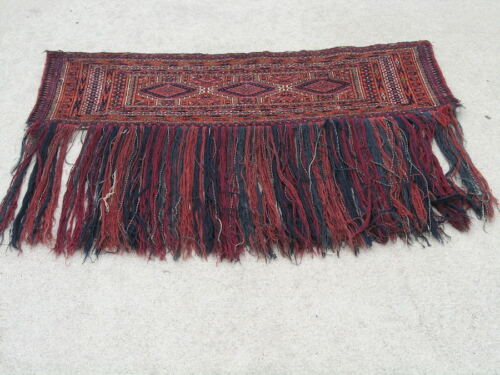"""Antique Turkoman Saryk Yomud Torba Complete With Skirt Long Tassels14x46"""""""