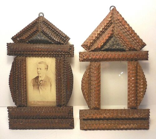 "RARE FIND! 2 ANTIQUE TRAMP ART 1899 ""STEEPLE"" FRAMES-MATCHING PAIR"
