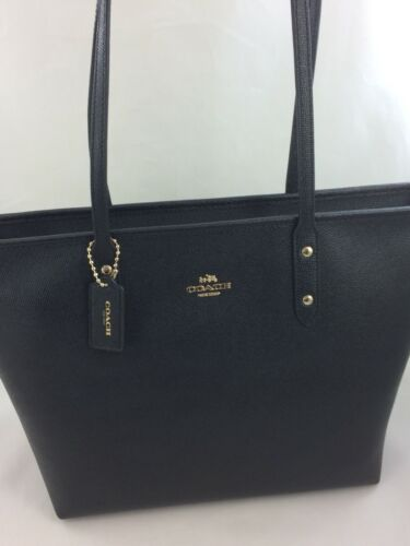 New Coach F58846 Crossgain Leather City Zip Tote Handbag Purse Bag Gold/Black