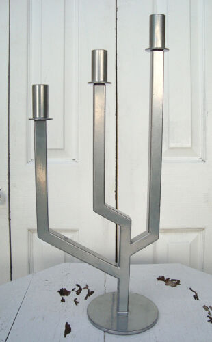 "***SOLD***   Vtg 20"" Modernist Mid Century Abstract Candelabra - BAUHAUS Steel"
