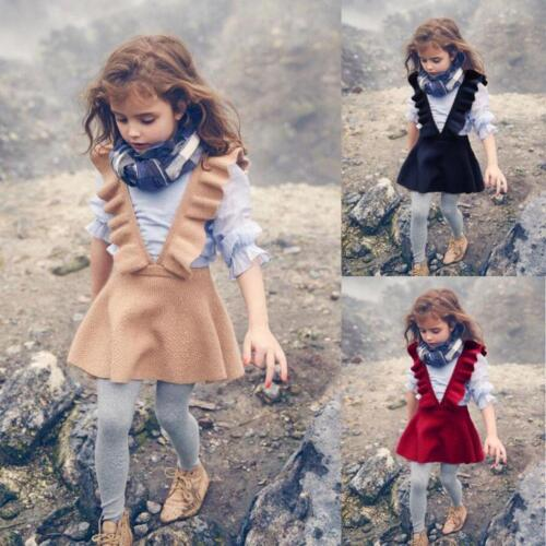 Autumn Toddler Girl Kids Baby Knit Sweater Solid Sleeveless Ruffle Dress Clothes