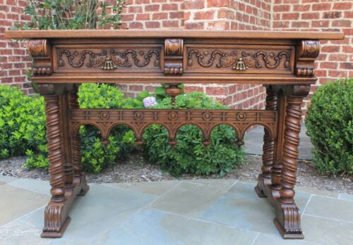 Antique French Oak GOTHIC Entry Console Sofa Barley Twist Table Drawers 19th C.