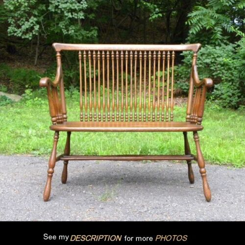 Antique Turn of the Century Quarter Sawn Oak Spindled BENCH Settee