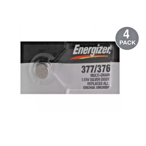 Energizer 377 376 Silver Oxide Watch Batteries SR626SW (4 Pack)