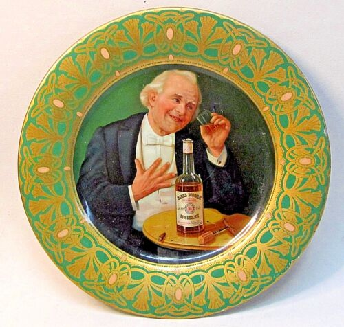 "1906 Pfeiffer SILAS MOORE WHISKEY Vienna Art Plates 10"" tin beer tray VERY nice!"