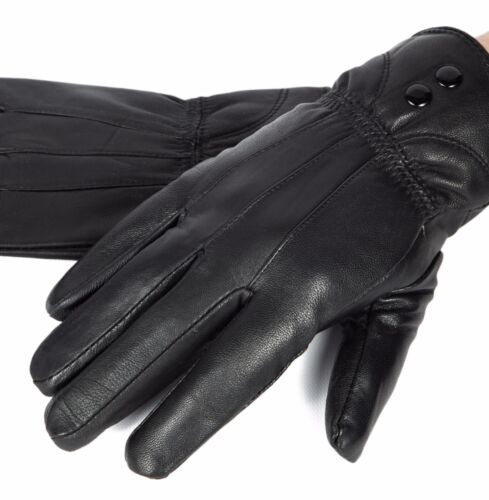 New Women's Black Winter Warm Genuine Leather Gloves Thermal Insulation Lambskin