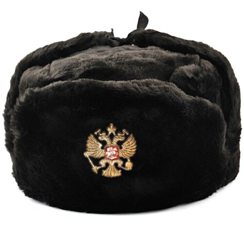 Ushanka Russian Hat Black Made in Russia Faux Fur Ушанка Ear Flap Hat