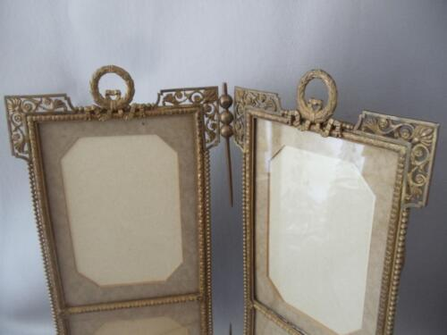 ANTIQUE VTG FRENCH EMPIRE BRONZE BOW & RIBBONS DOUBLE 4 PICTURES TABLE FRAME