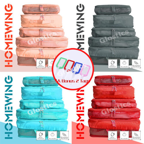 5Pcs Packing Cubes Travel Pouches Luggage Organiser Clothes Suitcase Storage Bag <br/> ⚠️BUY 1, GET 1 AT 10% OFF⚠️ SYD STOCK⚠️FAST SHIPPING