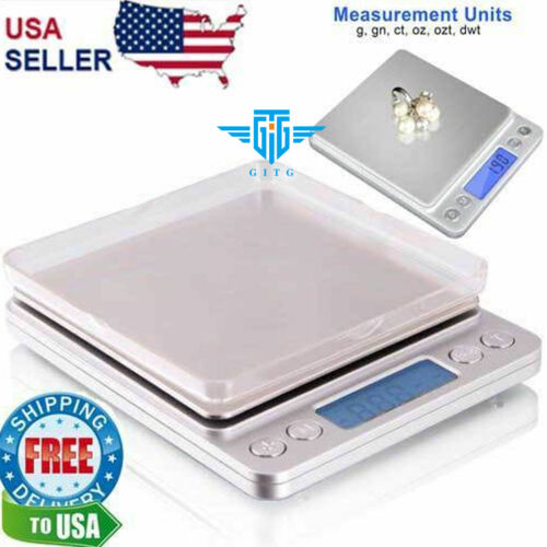 Digital Scale 2000g x 0.1g Jewelry Gold Silver Coin Gram Pocket Size Grain Scales - 34088