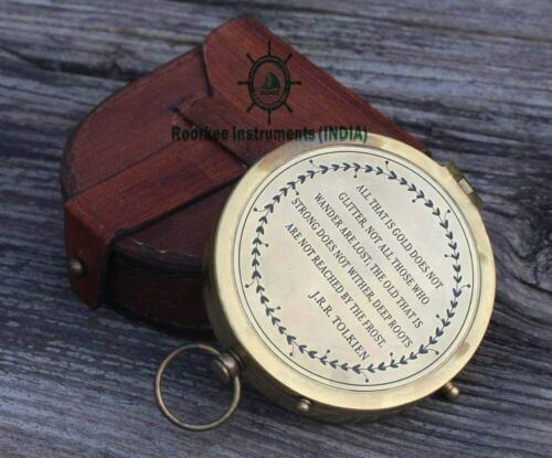 E. E. Cummings Complete I Carry Your Heart Poem Brass Compass With Wood Case
