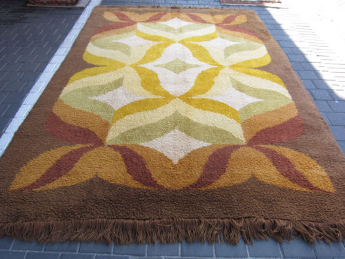 BEAUTIFUL VINTAGE RYA SHAG RUG mid century 290x202-cm / 114.1x79.5-inches