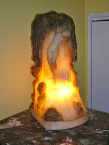 NICE, UNUSUAL 20TH CENTURY CARVED ITALIAN ALABASTER LAMP OF NUDE IN WATERFALL