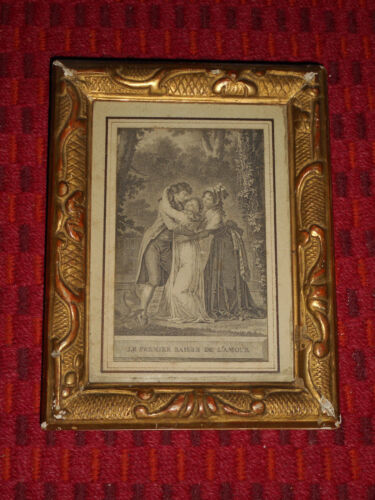 Victorian GESSO Framed FRENCH ENGRAVING Dovetail Wood Ornate Gold & Red Leaf