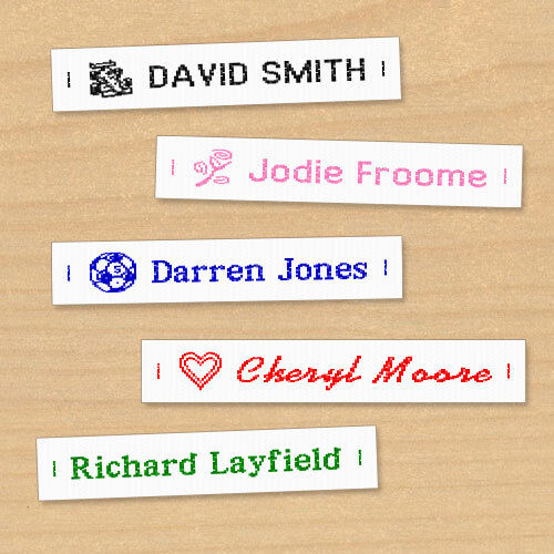 Woven Name Labels, Sew-in Name Tags for School Childrens Uniform UK <br/> Choice of Colour, Fonts & Images