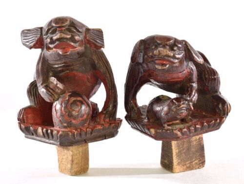 Pair Antique Chinese Red Gilt Wood Carving / Carved Statue Figure Foo Dog Lion
