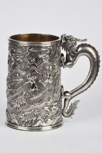 521 GRAMS LARGE CHINESE EXPORT SILVER TANKARD 1860 COAT OF ARMS OF SCOTLAND