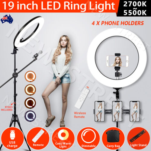 """19""""5500K Dimmable Diva LED Ring Light Diffuser Stand Mirror Make Up Studio Video <br/> ✔Double Side Mirror✔USB Port✔1 Year WTY✔Over 2000 Sold"""