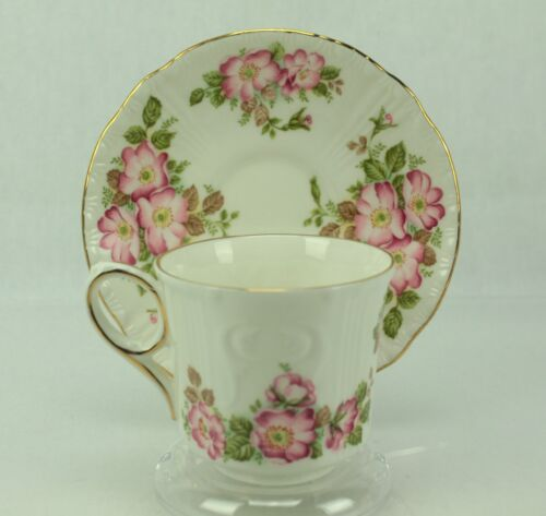 Royal Grafton Jacobean Pink WILD ROSE Emboss Bone China Tea Cup & Saucer ENGLAND