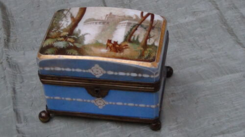 "ANTIQUE 19C ENGLISH HANDPAINTED MILK GLASS CASKET BOX WITH ORMOLU MOUNTS ""CASTLE"