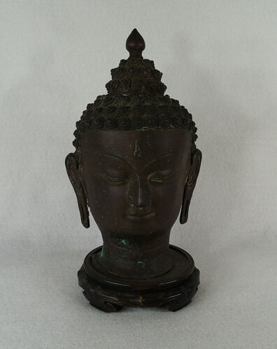 "Antique Asian Bronze Buddha Head on Stand 11"" 27 cm"