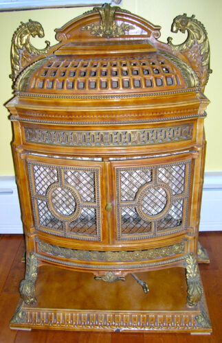 *RARE* ANTIQUE FRENCH ENAMELED GAS PARLOR STOVE WITH BRONZE/BRASS MOUNTS & TRIM*