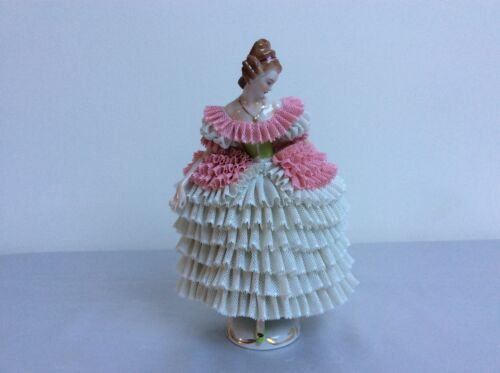 Lovely dresden sitzendorf porcelain lady pink white lace figurine figure