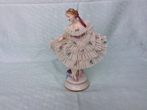 Lovely dresden sitzendorf porcelain lady white lace figurine figure seldom lace