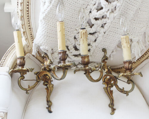 Pair French Bronze Wall Sconces Gorgeous Patina Antique