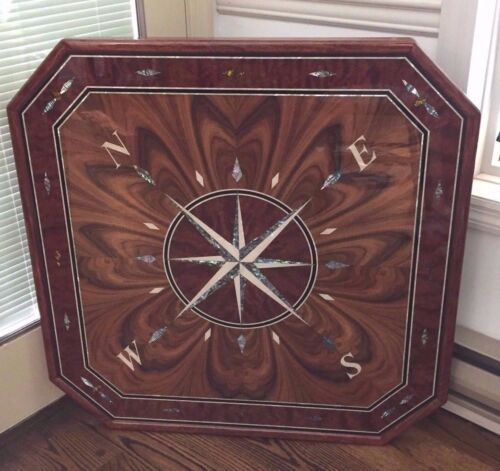 Compass Rose Custom Made Wall Plaque Medallion Inlaid Mother of Pearl Varnish