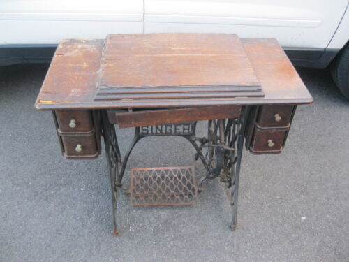 VINTAGE SINGER TREADLE SEWING MACHINE WITH CAST IRON BASE  PICK UP