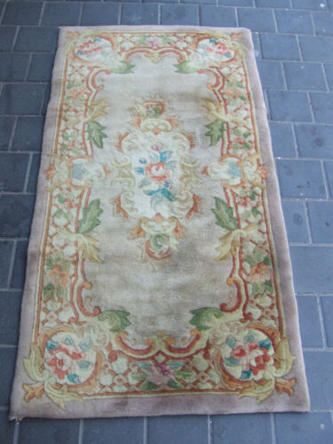 Beautiful hand-woven Chinese Antiques Carpets rug 136x70-cm / 53.5x27.5-inches