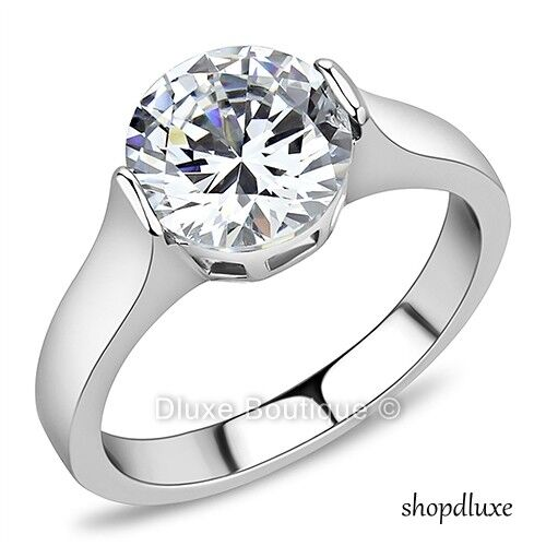 2.75 Ct Round Cut Stainless Steel AAA CZ Engagement Ring Band Women's Size 5-10