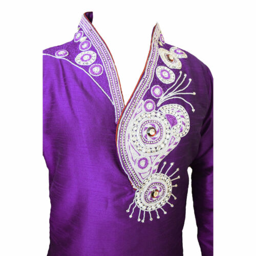 Mens Blue Dupin Silk Wedding Kurta Pajama with Embroidered Beads GR1070