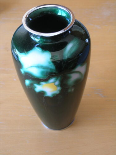 Vintage Ando Cloisone Vase Green Ginbari Iris 10 inches Signed As Is