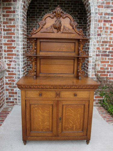 Antique French Country Oak Plate Dresser Server Buffet Cabinet Sideboard Hutch