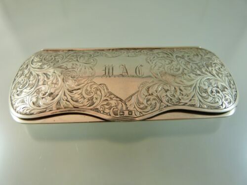 "SCROLL ENGRAVED EYE GLASS CASE STERLING BY W&H BIRMINGHAM 1946 ""WAC"""