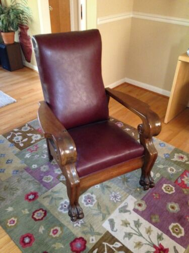 ANTIQUE Royal Easy Chair, Push Button Recliner Prof. Restored. Morris chair