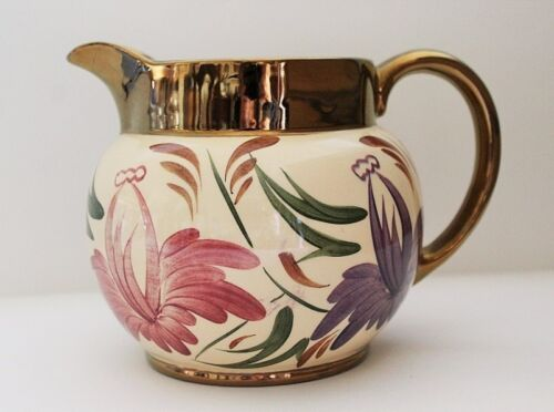 Vintage Jug Hand Painted Heavily Gilded Made By Wade Harvest Ware C 50'S