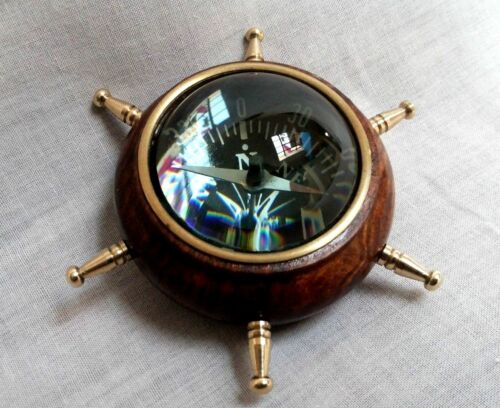 Antique Vintage Nautical Wooden Wheel Lens Compass Collectible Decorative