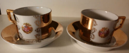 FREDIMANN HALLMARKED TEA CUP AND SAUCER SET-PAIR OF COURTING COUPLE -GOLD PLATED