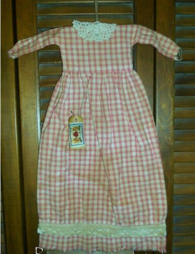 PINK PLAID cluny lace Grungy Prim WALL DRESS Primitive, Easter.Spring,Valentine