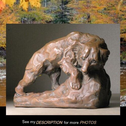 Antique KBW Kathodion Bronze Works GRIZZLY BEAR Sculpture not a bookend