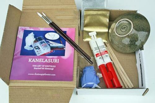 Kintsugi Repair Kit. Ceramic  included. Gold and silver powders included.