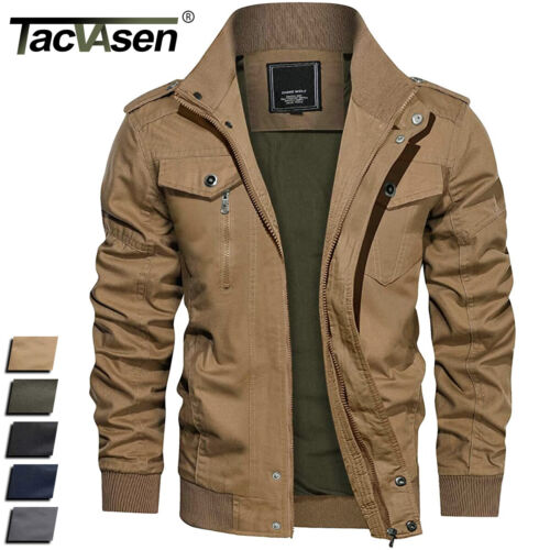 TACVASEN Mens MA-1 Pilot Bomber Jacket Coats Air Force One Military Army Jackets