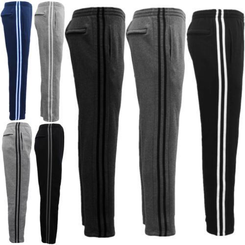 New Men's Fleece Lined Casual Sports Track Suit Striped Sweat Pants Gym Trackies