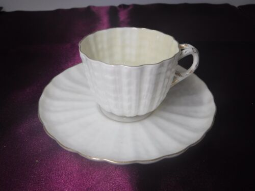 American Belleek by Ott & Brewer Demitasse Cup & Saucer Set Gold Gilt ca. 1885