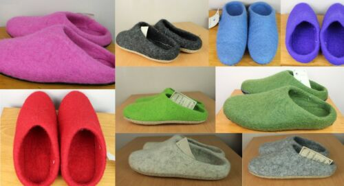 REAL Wool HANDMADE Hippy Felt Home Indoor Shoe Warm Mule Slippers Flip flop FS1