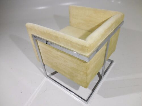 Vintage 70's Baughman Style Compact Cube Chrome Lounge Chair Mid Century Modern